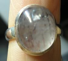 925 ezüst gyűrű, 17,3/54,3 mm lodolit kvarccal