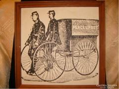 E10 Francia postások munkában antik tus papír 43 x 43-cm