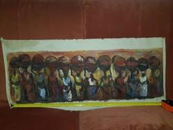 Abazlan szignós afrikai árusok, olaj, vászon