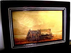 Fegyó Béla festőművész olaj faroston, fa keretben, eredeti festménye