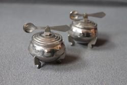 Két részes mini cukortartó, pici edény pici kanállal