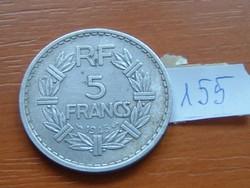 FRANCIA 5 FRANCS FRANK 1945 ALU. 155.