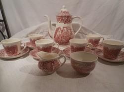 Porcelán - Kávéskészlet - Royal Tudor Ware - Angol - porcelán HIÁNYTALAN - 15 db - HIBÁTLAN