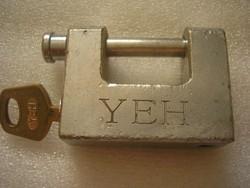 Speciális antik erős JEH lakat réz kulccsal