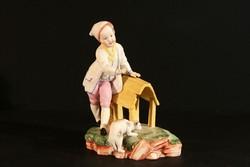 Antik 18.sz. Höchst Porcelán Figura 14x10x18cm Hibátlan