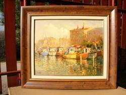 Mág Tamás  olaj festmény Október a kikötőben 40 x 50 cmm