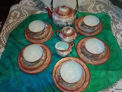 Gyönyörű,japán,tojáshéj porcelán reggeliző, teázó,.komplett,cukortartó , kis kiöntő nagy kanc