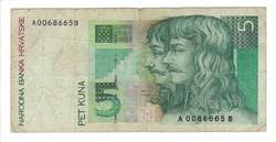 5 kuna 1993 Horvátország