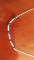 Régi merev ezüst nyaklánc lápisz lazuli golyókkal