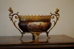 Késő Barokk antik tűz-aranyozott gyümölcsöstál. Kézzel festett!