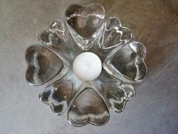 Impozáns szív alakú üveg mécsestartó, melegentartó