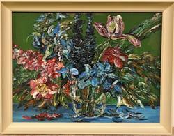 Brokés Ágnes (1940 - ) Virágcsendélet c.Képcsarnokos olajfestménye 86x66cm EREDETI Garanciával !!