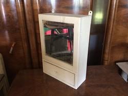 Régi vintage tökrös fiókos fa faliszekrény fali szekrény