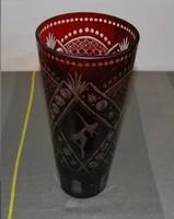 Bordó balerinás kristály váza