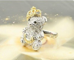 Kristályos Maci Korona Női Gyűrű