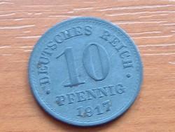 NÉMET BIRODALOM 10 PFENNIG 1917 CINK #