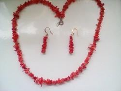 Koráll nyaklánc+ ajándék fülbevaló