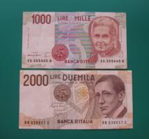 1 000 ₤ és 2 000 ₤ - Olasz lira - 2 db bankjegy -1990 - M. Montessori és  G. Marconi
