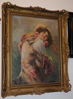 Geiger Richard (1870 - 1945) Spanyol cigánylány tamburinnal - jelzett!