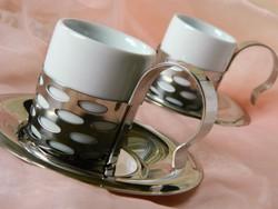 Cromargan  rozsdamentes acél  eszpresszó csésze tartó és csészealj, porcelán csészével, 2 főre