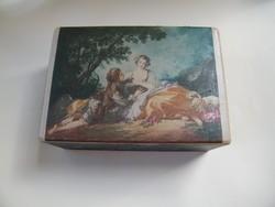 Barokk, rokokó jelenetes képpel díszített fa doboz