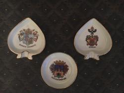 3 antique drasche bowls with coat of arms in one (Sopron county, Sopron and Székesfehérvár)