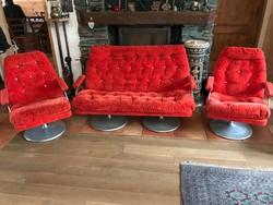Különlegesen extra retro forgó fotel karos szék (2 db), kanapé szófa