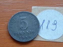 NÉMET BIRODALOM 5 PFENNIG 1919 D VAS 119.
