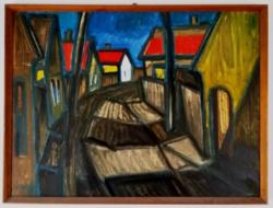 Lakatos József : Hajdúböszörményi utcarészlet (1975.)
