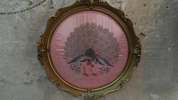Antik páva motívumos hímzett selyem fali kép