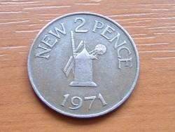 GUERNSEY 2 NEW PENCE 1971 SZÉLMALOM #