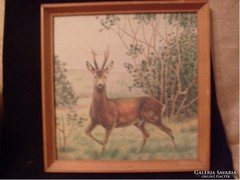 E10 Hantos jelzéssel 1971 színes tus ceruza rajz kartonra üveglapos  32 x 32 cm