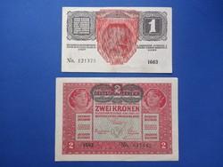 1916 1 Korona és 1917 2 korona bankjegy pár