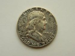 1954 Amerikai Franklin ezüst fél Dollár.