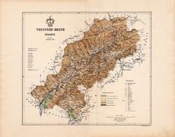 Trencsén megye térkép 1886 (2), vármegye, atlasz, Kogutowicz Manó, 44 x 56 cm, Gönczy Pál