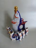 Aranyozott,hal alakú orosz porcelán pálinkás készlet