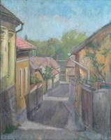 Bánovszky Miklós : Szentendrei utca, 1930-40 - eredeti, korai szentendrei olajfestmény