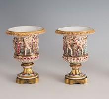 Capodimonte kisméretű váza párban
