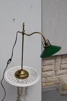 Réz bank asztali könyvtár lámpa  zöld búra