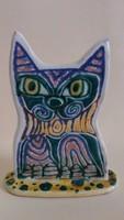 Kézzel készült egyedi kerámia macska, cica figura