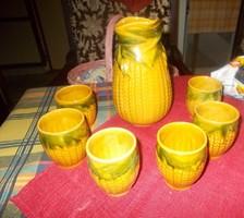 Engób mázas kukorica mintás majolika boros készlet