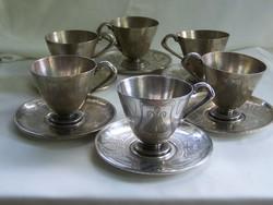Szandrik szép mintázatú ezüstözött teáskészlet.