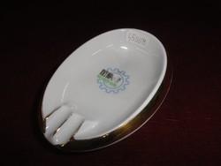 Hollóházi porcelán hamutál,  ovális alakú, Mezőgép felirattal.