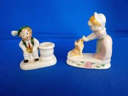 Régi német porcelán labdázó kislány kutyával és egy tiroli ruhás kisfiú