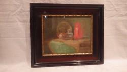 Antik jelzett pasztell asztali csendélet festmény