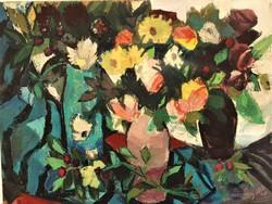Szilvásy Pál (1920 - 1996) Virágcsendélet c. Képcsarnokos festménye 80x60 EREDETI GARANCIÁVAL