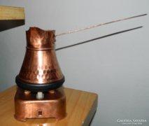 Retro vörösréz kis rezsó melegítővel - kávémelegítő