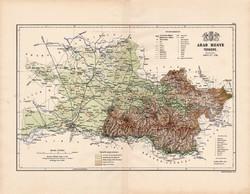 Arad megye térkép 1888 (2), Magyarország, vármegye, régi, atlasz, eredeti, Kogutowicz Manó, Gönczy