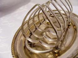 Antik, romantikus, szív alakú, ezüstözött, alpakka, pirítós tartó tálcával, 6 szelet kenyérnek