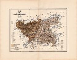 Alsó - Fehér megye térkép 1888 (2) , Magyarország, vármegye, régi, atlasz, eredeti, Kogutowicz Manó